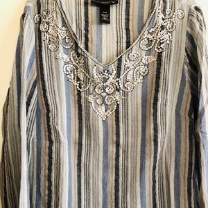 Long sleeve gauze embellished top!